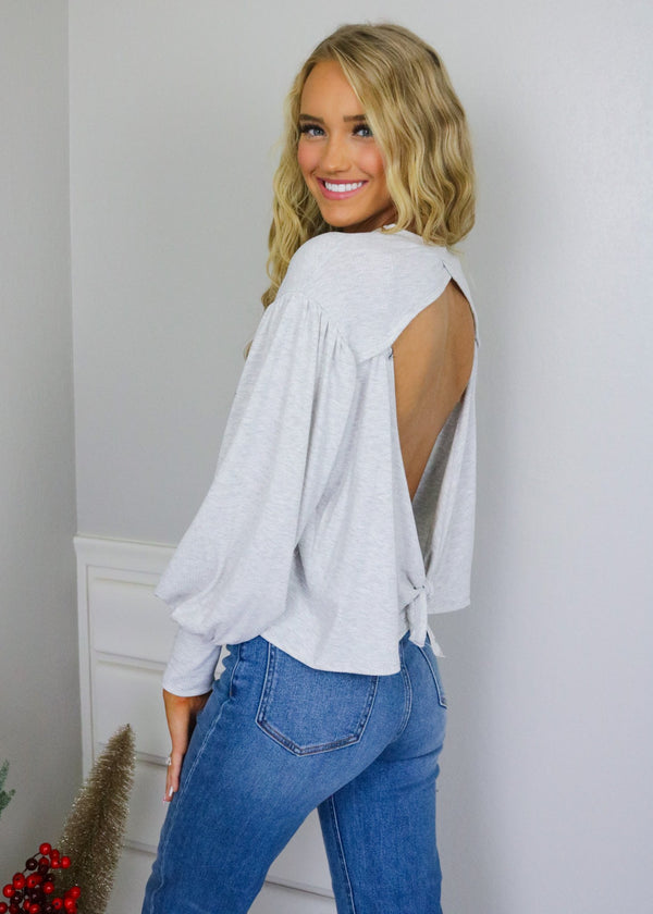 Maggie Grey Back Tie Detail Top Tops Blue Blush