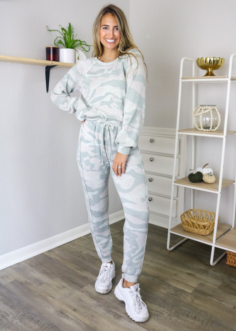 Mariah Super Soft Camo Joggers Bottoms ~