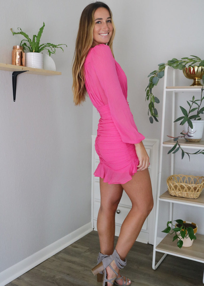 Marina Hot Pink Ruched Dress Dress ~