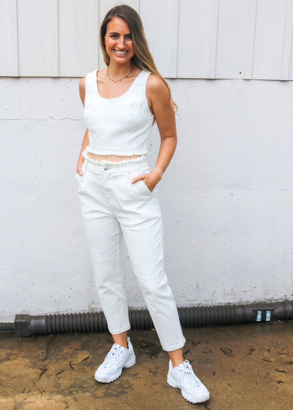Marlow White Denim Crop Top Top ~
