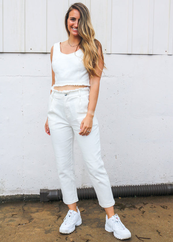 Marlow White Denim Jeans Bottoms ~