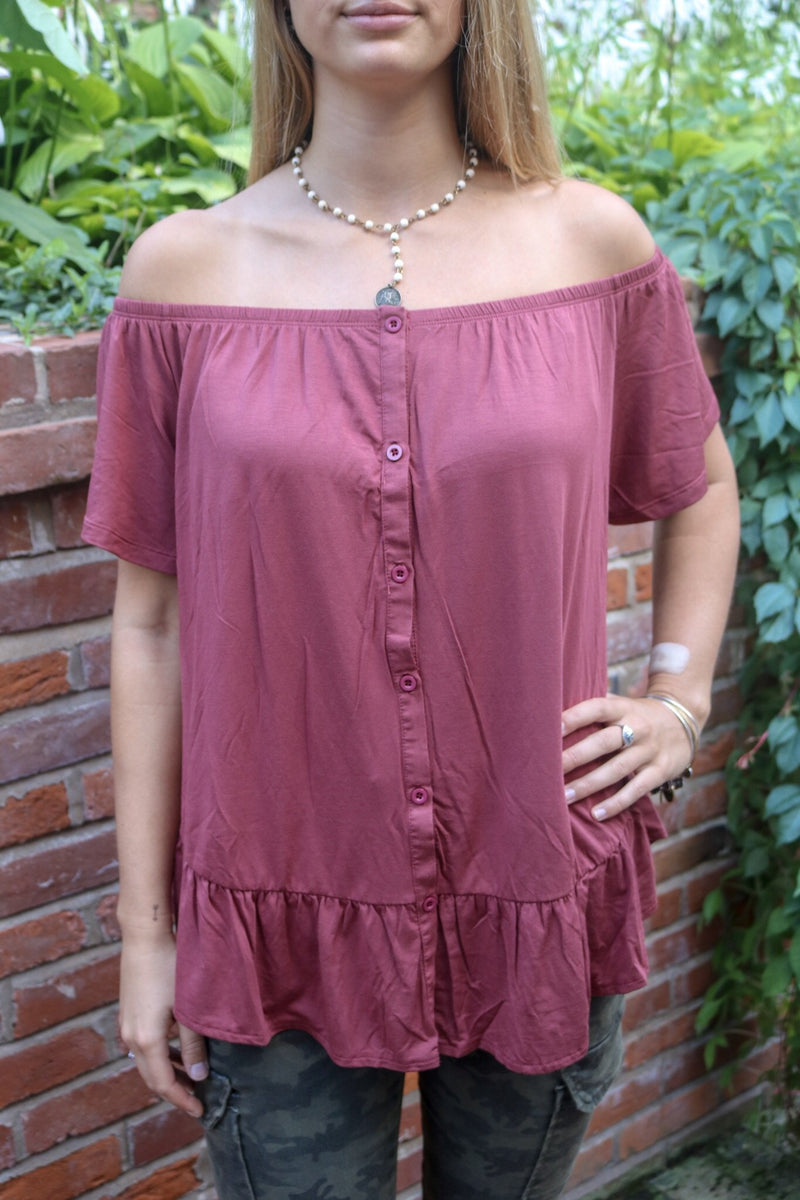 Maroon Off the Shoulder Top Tops ~