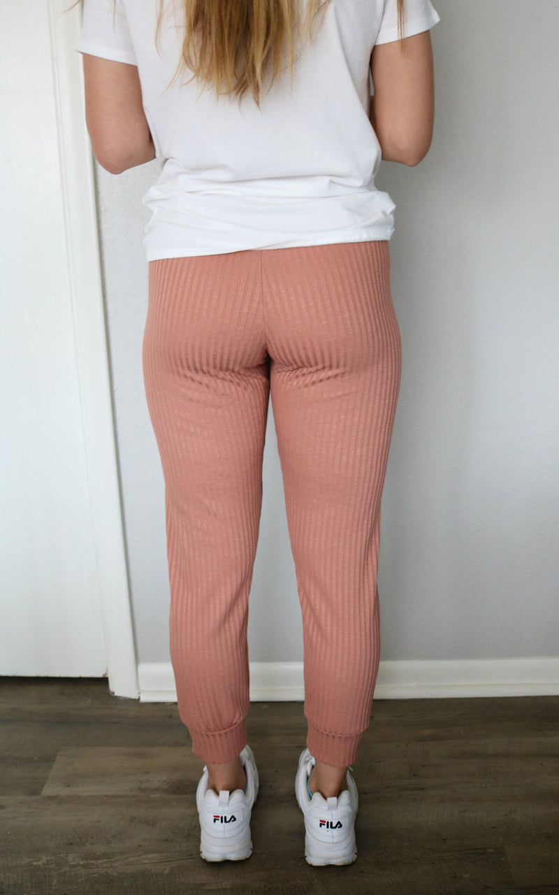 Mauve Ribbed Fitted Jogger Jogger No Less Than