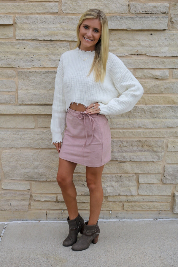 Mauve Suede Belted Skirt Skirt ~