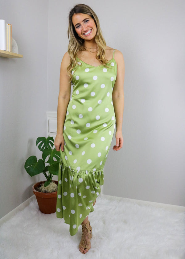 Melissa Lime Polka Dot Maxi Dress Dress Emory Park