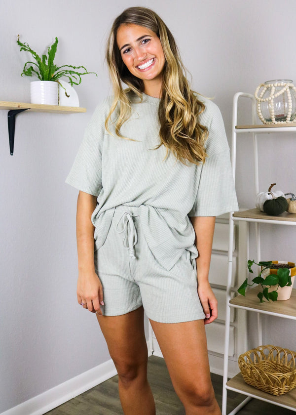 Mila Sage Knit Top + Shorts Set Set ~
