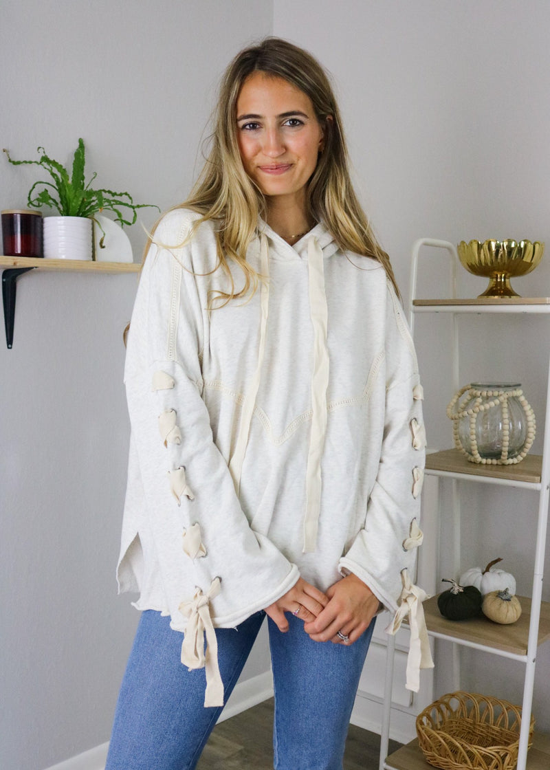 Naomi Oatmeal Lace Up Pullover Pullover ~