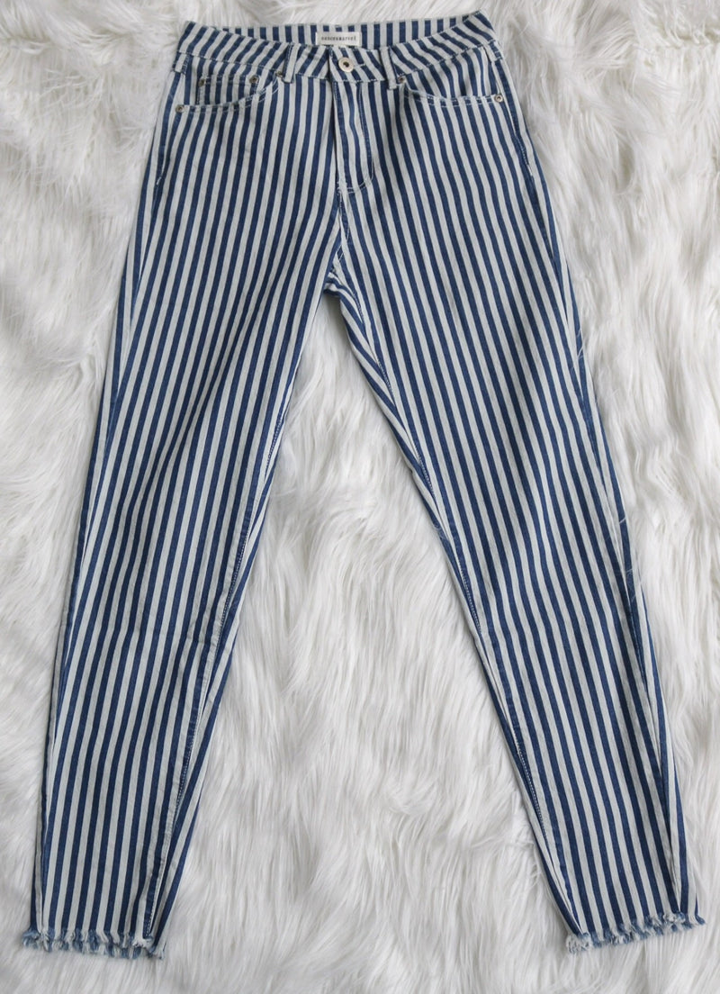 Navy Pinstripe Jeans ~