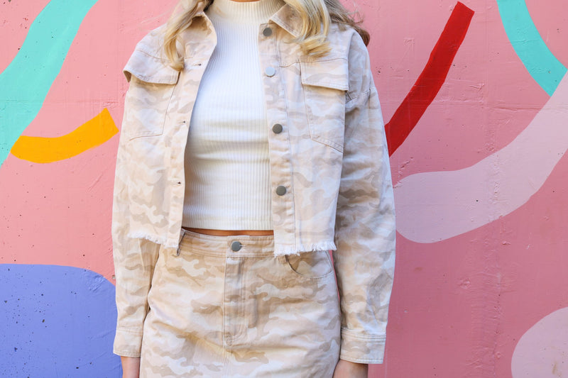 Neutral Camo Cropped Jacket Jacket ~