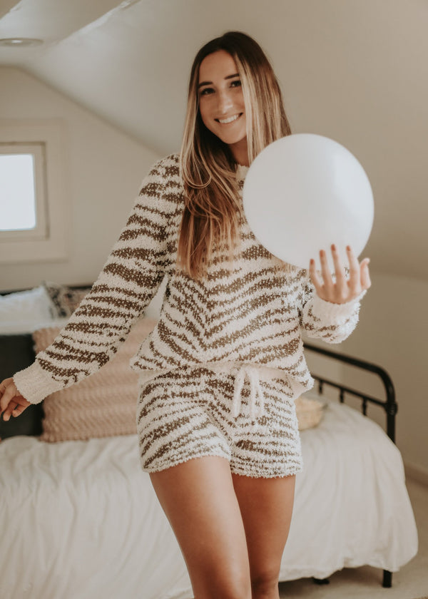 Neutral Zebra Lounge Pullover Pullover ~
