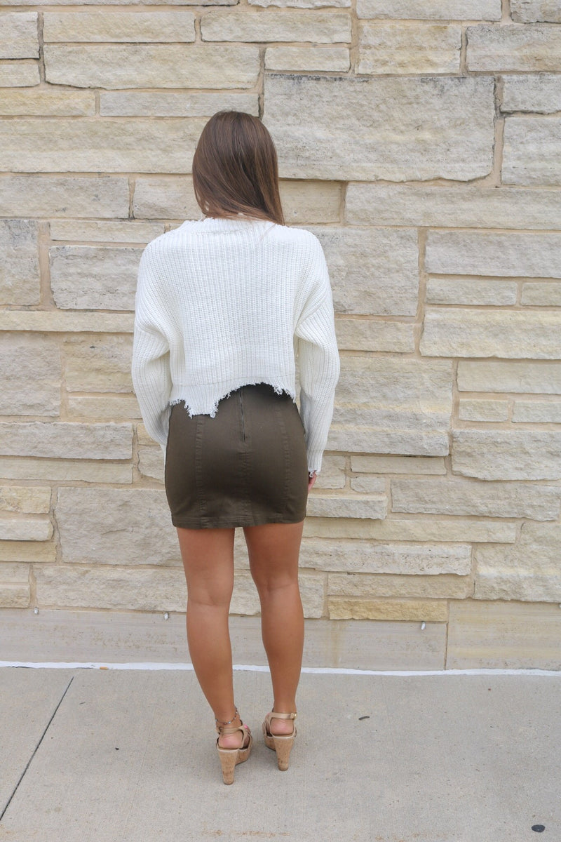 Olive Denim Skirt Skirt ~