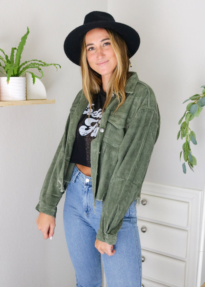 Olive Distressed Corduroy Jacket Jacket ~