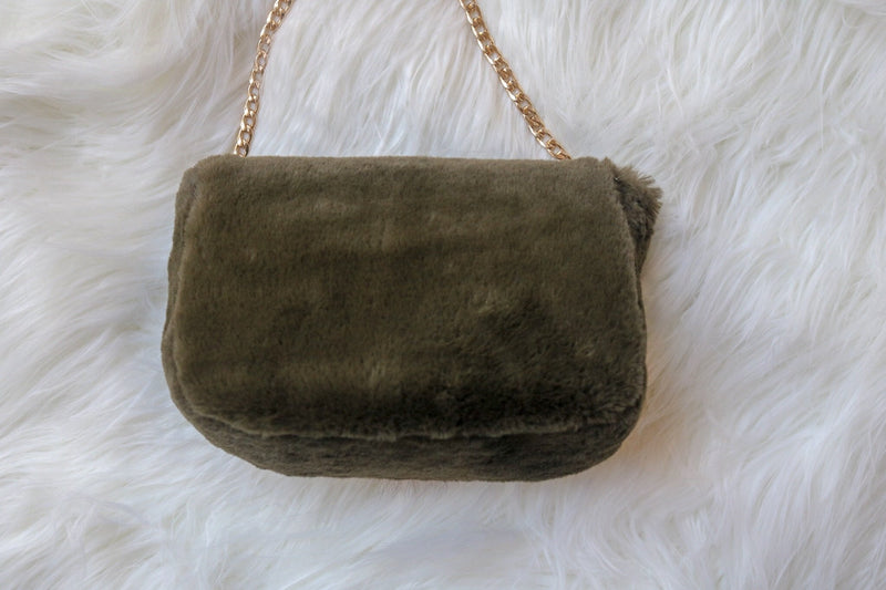 Olive Fur Crossbody Bag Accessory ~