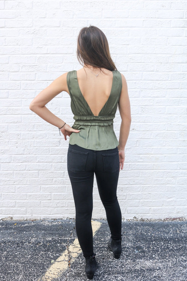 Olive Satin Top Top ~