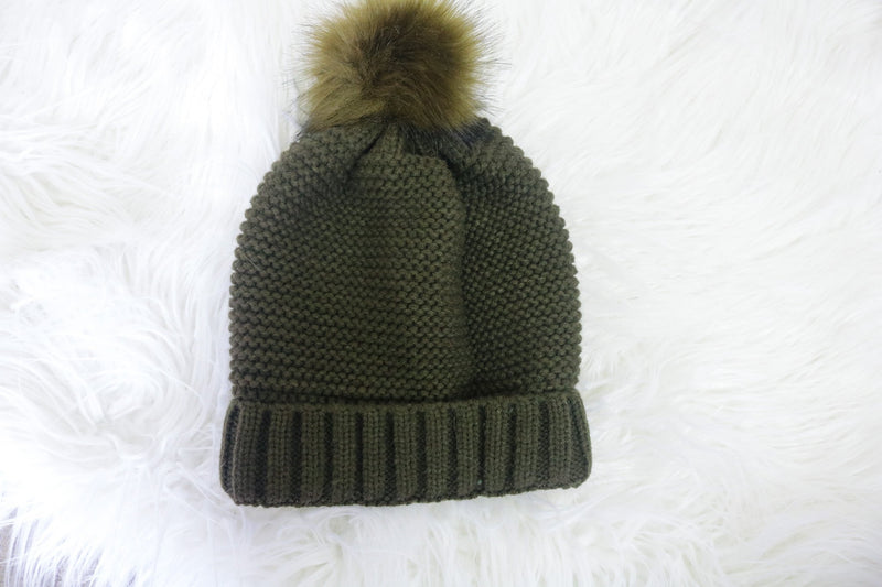 Olive Sherpa Lined Beanie Accessory Bolt Boutique