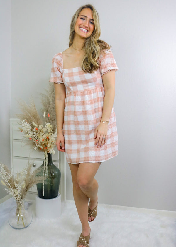 Peaches Gingham Babydoll Dress Dress Lush
