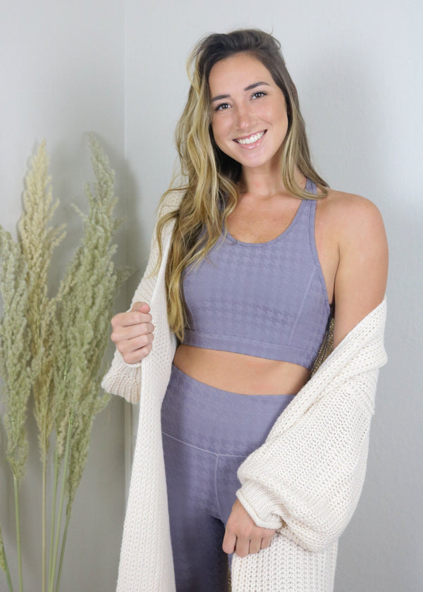 Peak Season Houndstooth Sports Bra Top ~