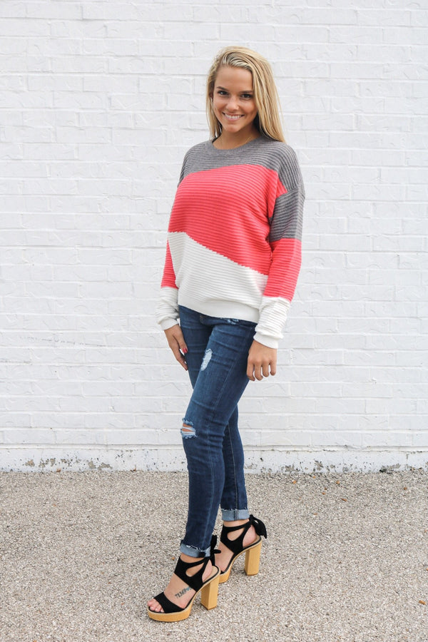 Pink Colorblock Sweater Top ~