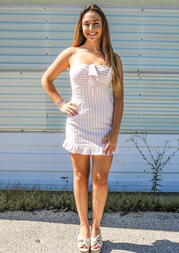 Pink Posey Striped Dress Dress ~