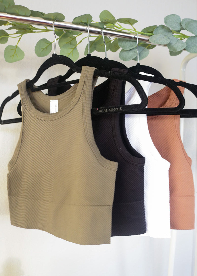Poppy High Neck Ribbed Cropped Tanks Top Nikibiki