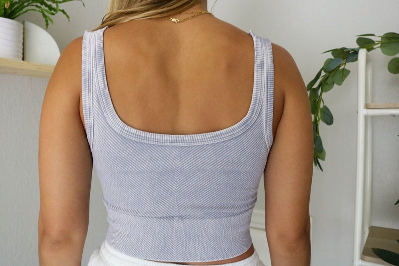 Poppy Ribbed Cropped Tank - Lilac Grey Top ~