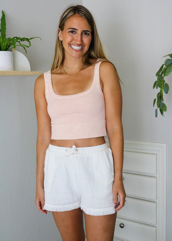 Poppy Ribbed Cropped Tank - Peach Top ~