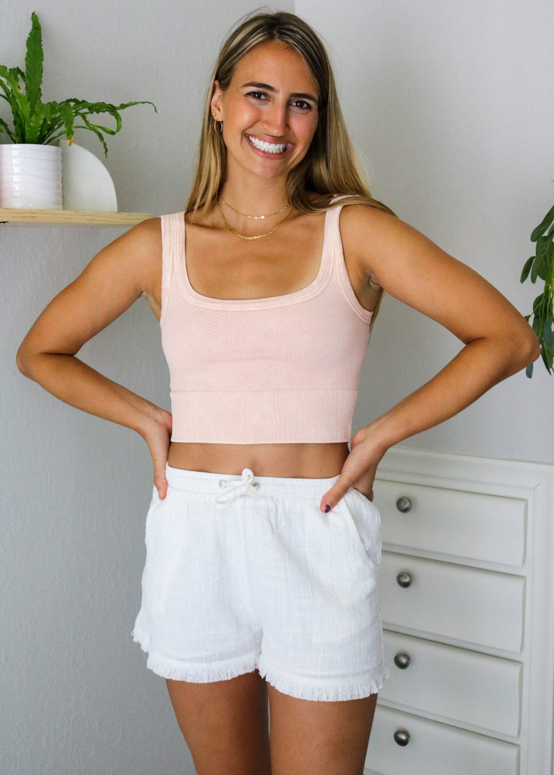 Poppy Ribbed Cropped Tank - Vintage Peach Top ~