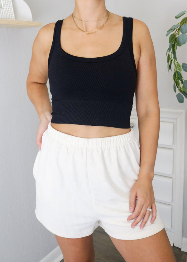 Poppy Ribbed Cropped Tanks Top ~