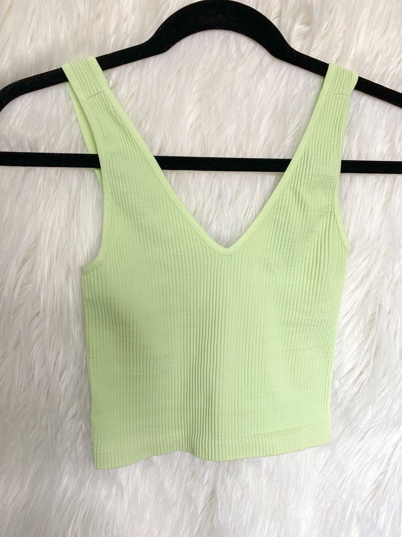 Ribbed V-Neck Cropped Tank - Mist Mint Top ~