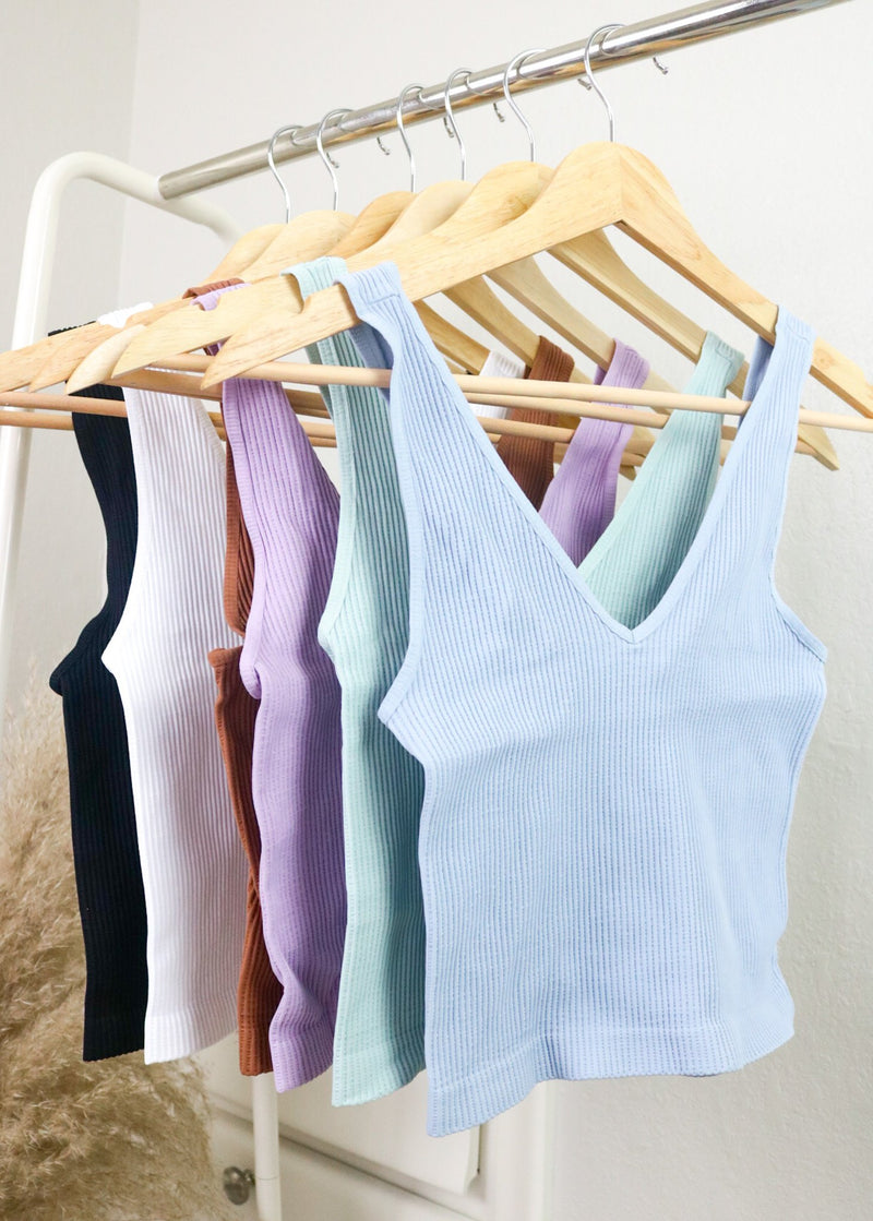 Ribbed V-Neck Cropped Tanks Top Nikibiki