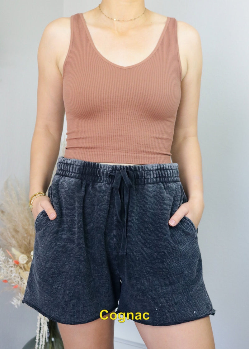 Ribbed V-Neck Cropped Tanks Top Nikibiki Cognac