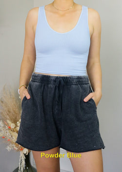 Ribbed V-Neck Cropped Tanks Top Nikibiki Powder Blue