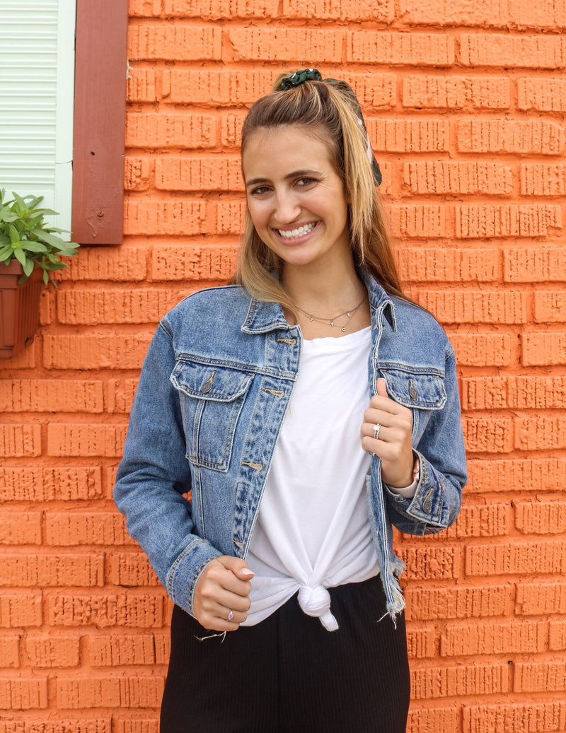 Roxy Distressed Denim Jacket Jacket Hidden Denim