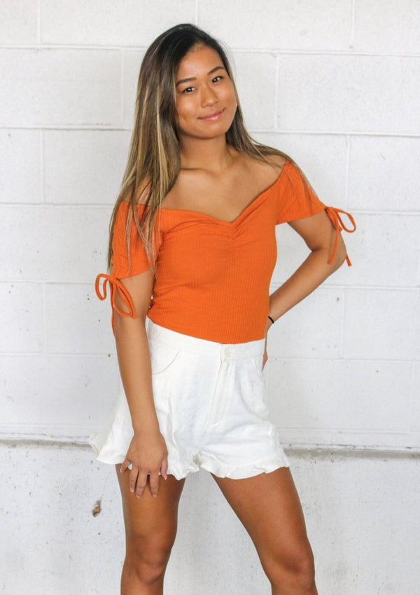 Rust Ruched Top Top MINKPINK
