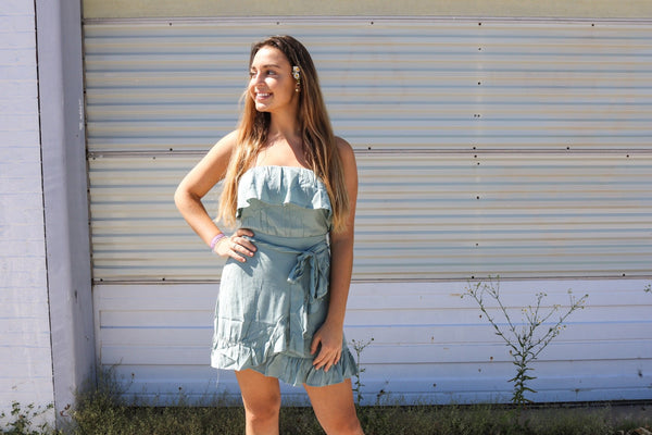 Sage Ruffle Dress Dress ~