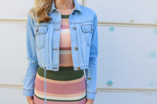 Samantha Cropped Denim Jacket Jacket ~