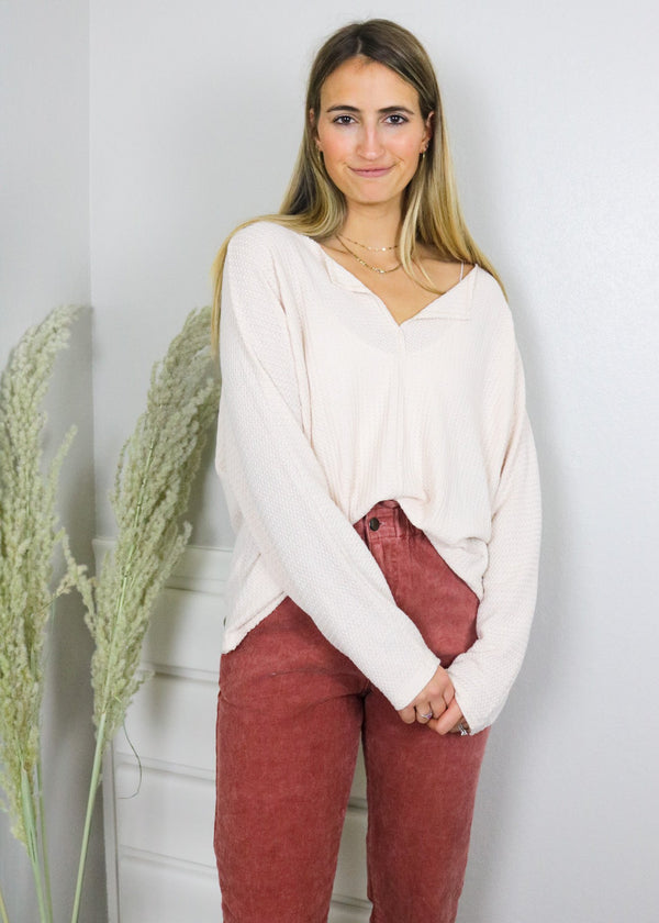 Sand Storm Waffle Knit Top Top ~