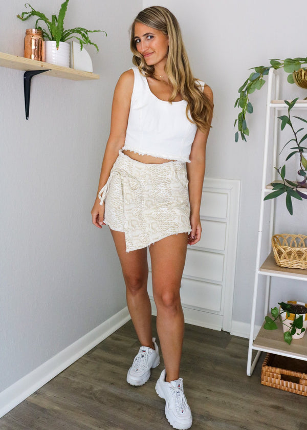 Savanna Snake Print Wrap Shorts Shorts ~