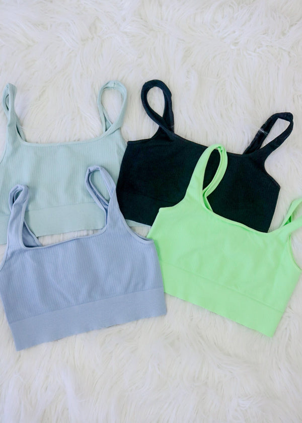 Seamless Ribbed Sports Bras Top Nikibiki