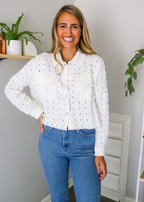 Stacy Eyelet Cropped Jacket Jacket ~