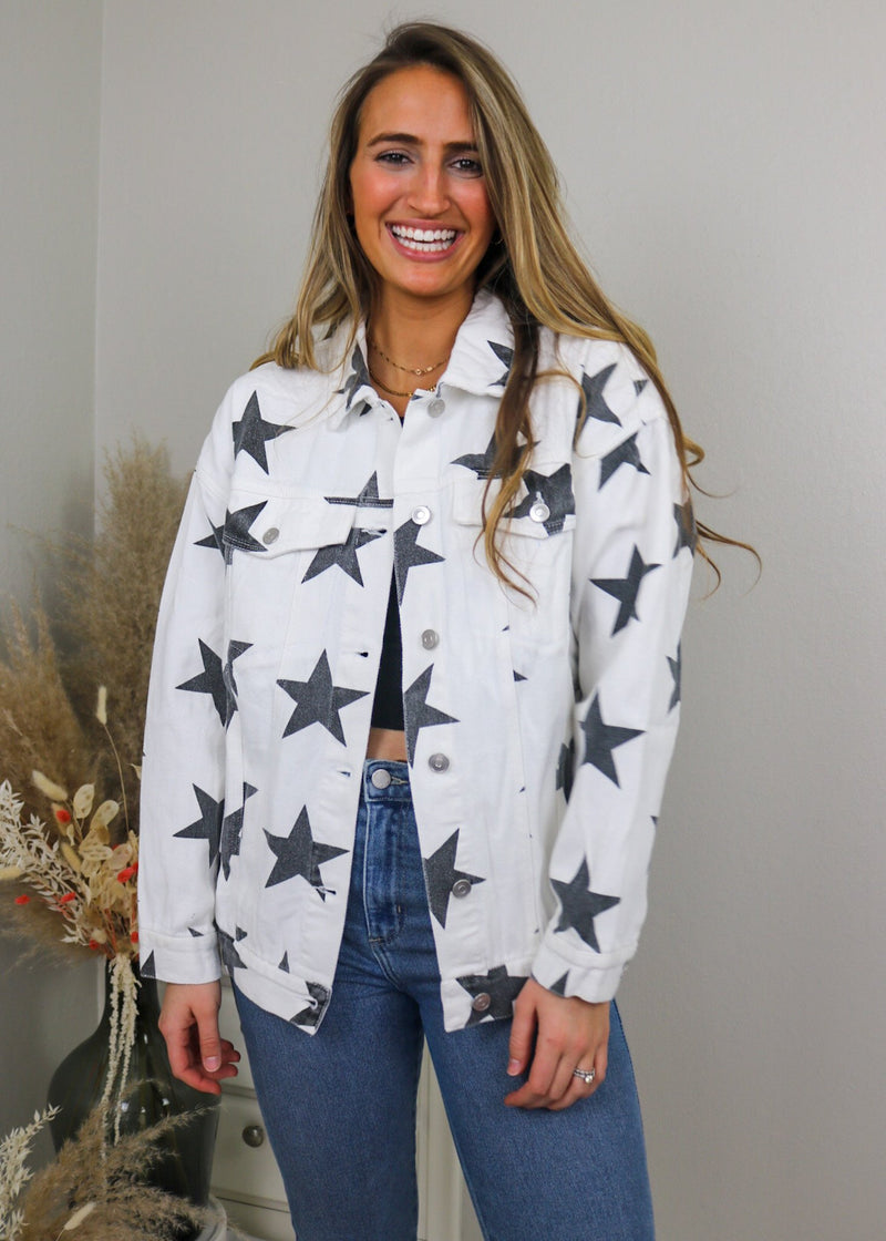 Star Denim Jacket - Black and White Jacket Peach Love