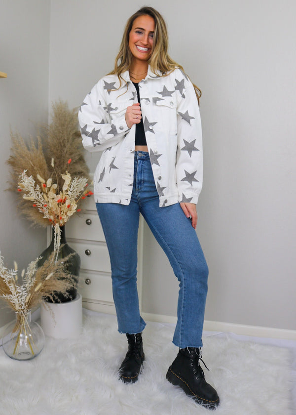 Star Denim Jacket - Grey and White Jacket Peach Love