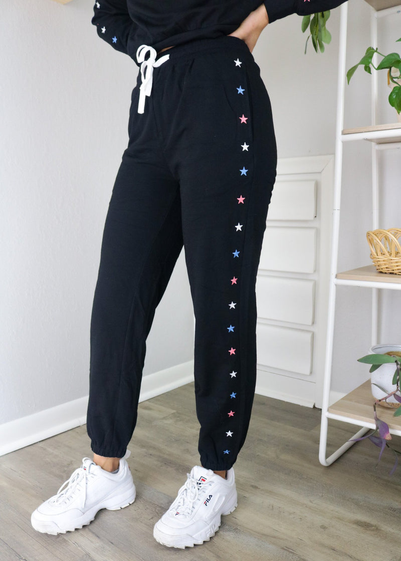 Star Embroidered Joggers Bottoms ~