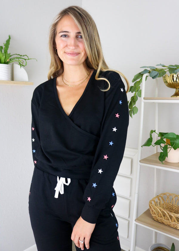Star Embroidered Sweat Shirt Set ~
