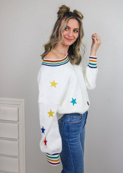 Star Girl Off The Shoulder Sweater Sweater Cezele