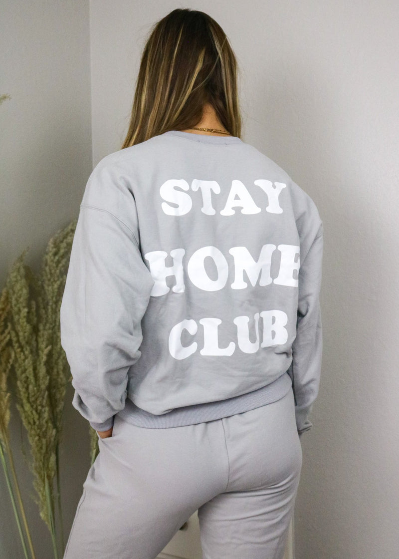 Stay Home Club Grey Crewneck Sweatshirt Set Bailey Rose