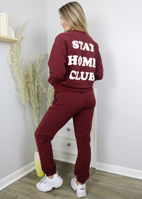 Stay Home Club Wine Crewneck Sweatshirt Set Bailey Rose