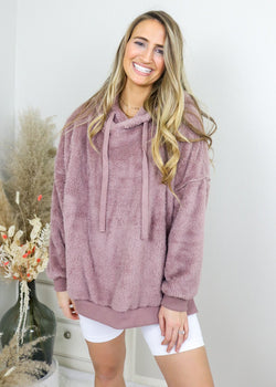 Staying In Fuzzy Pullover - Mauve Pullover Wishlist