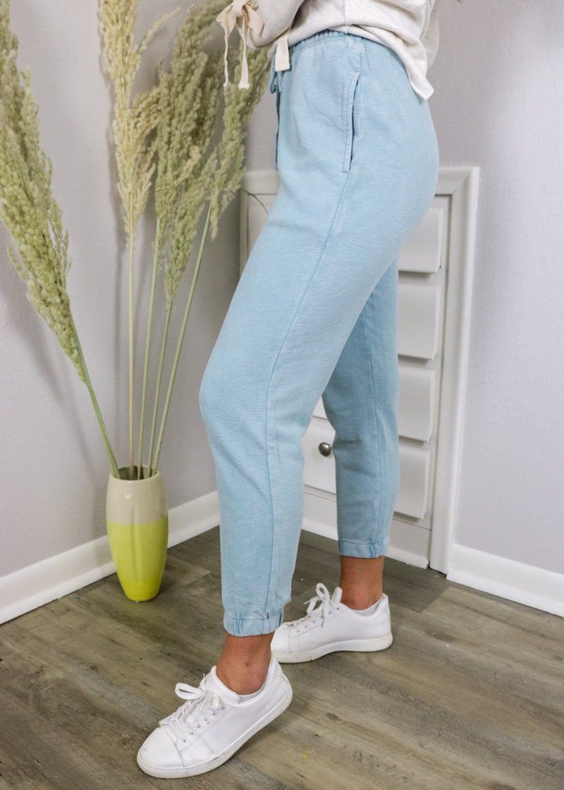Stone Blue Mineral Wash Joggers Bottoms ~