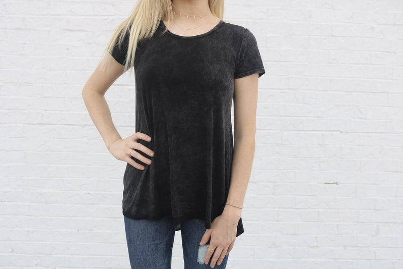 Stone Wash Lace Up Tee Top ~